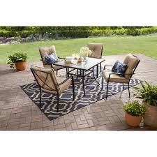 Mainstays Patio Furniture Replacement Cushions by Mainstays Forest Hills 5 Piece Dining Set Tan Walmart Com