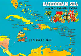 Capitals Of The Caribbean Islands Sea West Indies This Map Postcard Within