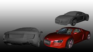 interior and exterior of Audi R8 for game and videos 3D model