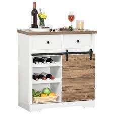 homcom küchenschrank sideboard mit 2 schubladen weinregale