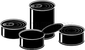 Set of cans canned food isolated illustration black on white background Stock Vector