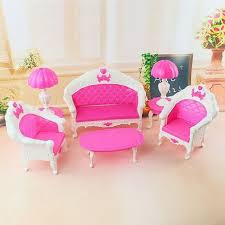 new arrival lovely 6pcs set happy dollhouse for barbie doll