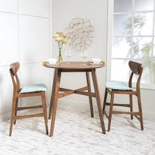 Dining Room Pub Table 3 Piece Wood Counter Height Round Set Sets