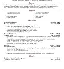 Store Manager Resume Examples Sample For Retail Assistant Resumes