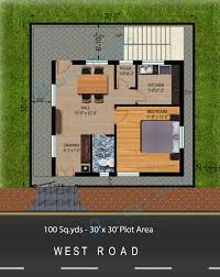30 X 30 House Floor Plans by Way2nirman 100 Sq Yds 30x30 Sq Ft West Face House 1bhk Floor Plan