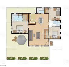architektonische zeichnung eines privathauses mit küche schlafzimmer wohnzimmer esszimmer badezimmer und möbel dachboden draufsicht konzept