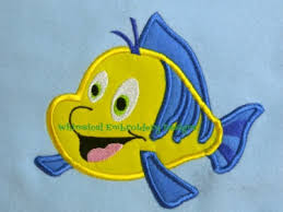 Flounder Little Mermaid Applique Machine Embroidery Design INSTANT