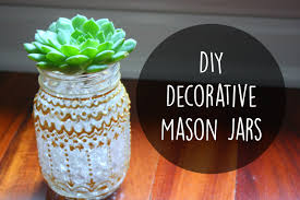 DIY Room Decor Decorative Mason Jars With Puffy Paint