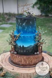 Outdoorsy Evening Skies Wedding Celebration Cake Sky Star Blue Nature Starry Night Romantic