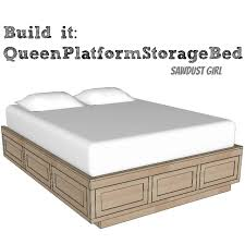 queen size platform storage bed plans from sawdust