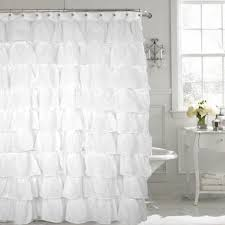 Pink Ruffle Blackout Curtains by Gypsy White Shabby Chic Ruffled Fabric Shower Curtain Altmeyer U0027s