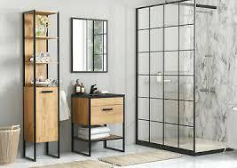 badmöbel set brooklin badmöbel waschbecken mdf platte metal badezimmer schwarz