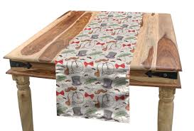 Amazon.com: Ambesonne Bicycle Table Runner, 1940s Objects Of ...