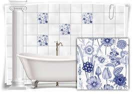 fliesen aufkleber fliesen bild kachel alt blumen blau weiß bad wc deko küche