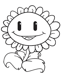 Sunflower Sweet Smile In Plant Vs Zombie Coloring Page