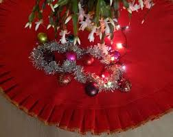 Christmas Tree Skirt Decorations Natural Linen Burlap Choose The Diameter In