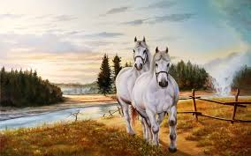 Horse Couple Beautiful Painting Poster