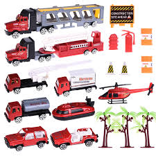 100 Fire Trucks Toys Truck Set With Diecast Engine Vehicles And Road Block Accessories Mini Rescue Emergency Trucks For Kids