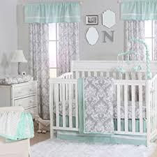 amazon com grey damask and mint green 4 piece baby crib bedding