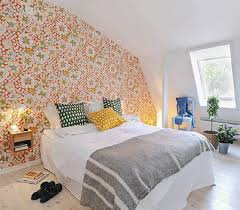 Attic Bedroom With Floral Wallpaper