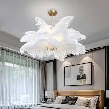 nordic schlafzimmer feder kronleuchter moderne beleuchtung kunst kronleuchter beleuchtung ac110v 220v led wohnzimmer goldene le