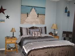 Brown And Blue Bedding by Bedroom Beach Themed Bedrooms With White Wall And Brick Pattern