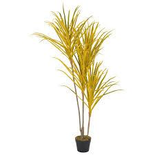 vidaxl künstliche pflanze dracaena mit topf gelb 125 cm gitoparts