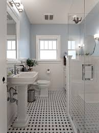 classic floor with white subway tile bathroom and freest