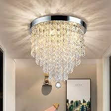 dllt modern kronleuchter kristall k9 mit elegantem design rund acryl 4 lenfassungen schöne kristall deckenleuchte für flur wohnzimmer