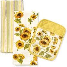 Better Homes And Gardens Sunflower Kitchen Towel Pot Holder Set Of 3