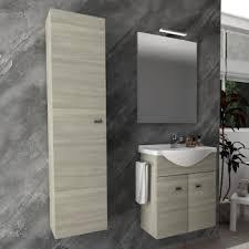 badezimmer badmöbel 55 cm aus eiche grau holz mit keramik waschtisch