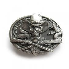 skull and crossbone belt buckle silver coated laticci