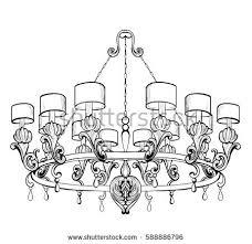 Vintage Baroque Elegant Chandelier Vector Luxury Royal Rich Style Decor Classic Lamp Illustration Sketch