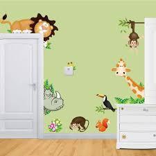 sticker chambre bébé jungle animaux sauvages stickers muraux enfants chambre