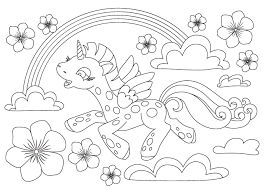Rainbow Unicorn Free Coloring Page O Animals Kids My Little Pony