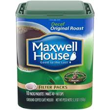 Maxwell House Decaf Original Roast Ground Coffee Filter Packs 10 Ct Tub