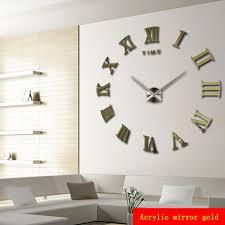 Promotion New Home Decor Large Roman Mirror Fashion Modern Quartz Clocks Living Room DIY Wall Clock