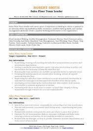 Sales Floor Team Leader Resume Sample