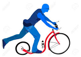 Blue Man Riding Red Kickbike Scooter Stock Vector