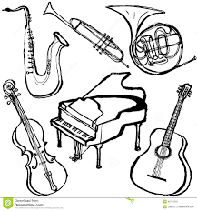 Coloring Book Instrumental Musical Instruments Stock Vector Image