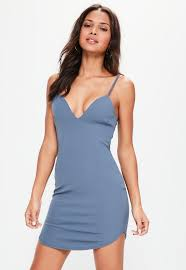 blue strappy plunge bodycon dress missguided