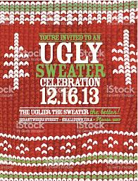 Knit Pattern Ugly Sweater Holiday Party Celebration Invitation Design Template Royalty Free