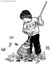 boy raking leaves in the autumn clipart