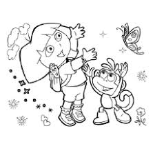 Dora Catches Butterfly With Friend The Her Friends Coloring Pages
