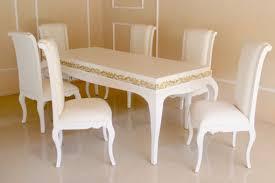 barock esszimmer garnitur octavia weiß mit goldenem dekor 1 tisch mit 6 stühlen