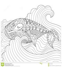 Royalty Free Vector Download Hand Drawn Whale In The Waves For Antistress Coloring Page