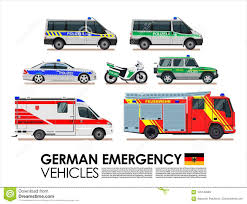 German Emergency Cars Vehicles Transport Set. Police Car, Fire Truck ...