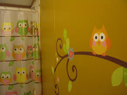 Leopard Bathroom Wall Decor by The Girls Bathroom We Painted A Mustard Yellow Wall With Owl