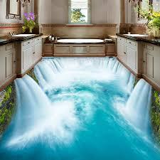hochwertige boden wandbild tapete pvc wasserdichte selbst klebe tapete badezimmer wc 3d boden wasserfall dekor murals