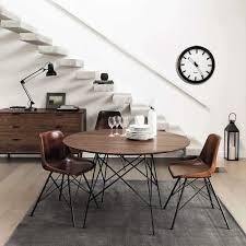 stuhl im industrial stil aus leder braun maisons du monde